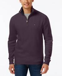 Tommy Hilfiger Men's Big And Tall French Rib Quarter Zip Plum Perfect