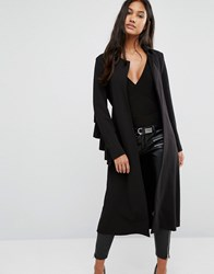 Supertrash Ruffle Back Duster Coat Black