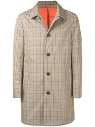 Calvin Klein Plaid Trench Coat Neutrals