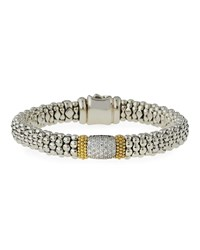 Lagos Diamond Lux Wide Station Bracelet Silver