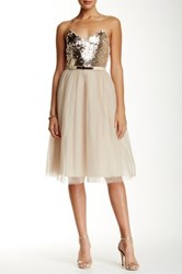 Little Mistress Sequin Embellished Strapless Dress White