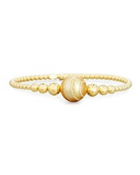Riviere And Co. Beaded Bracelet In 18K Yellow Gold With Diamond Striped Pearl