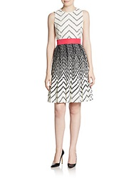 Saks Fifth Avenue Red Geometric Print Pleated Fit And Flare Dress Black White