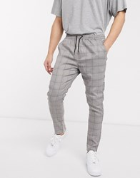 Brave Soul Draw String Trousers With Check Black