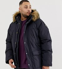 Schott Artica X Hooded Nylon Parka With Detachable Faux Fur Trim In Navy