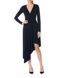 Laundry By Shelli Segal Asymmetrical Draped Long Sleeve Wrap Dress Black