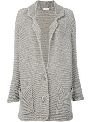 Le Tricot Perugia Knitted Sweater Women Silk Cashmere Virgin Wool M Grey