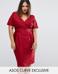 Asos Curve Wiggle Dress With Wrap Front And Seam Detail Red