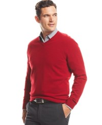 Club Room Big And Tall Cashmere V Neck Solid Sweater Regatta Red