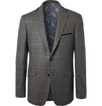 Etro Green Velvet Trimmed Checked Wool And Cashmere Blend Blazer