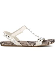 Pedro Garcia 'Jeril' Studded T Bar Sandals White