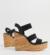 London Rebel Wide Fit High Heeled Cork Wedges Black