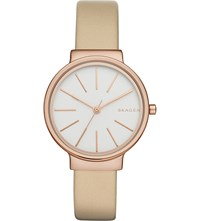 Skagen Skw2481 Ancher Rose Gold Toned Stainless Steel And Leather Watch