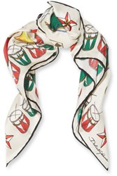 Dolce And Gabbana Printed Silk Twill Scarf Ivory
