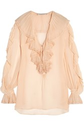 Philosophy Lace Trimmed Ruffled Silk Georgette Blouse Blush
