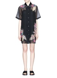 3.1 Phillip Lim Stud Floral Patchwork Sheer Silk Shirt Dress Black