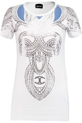 Just Cavalli Printed Cotton Blend T Shirt White