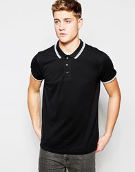 Brave Soul Tipped Polo Shirt Black