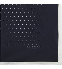 Sandro Dotted Silk Pocket Square Navy Blue
