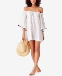 Anne Cole Studio Denim Days Off The Shoulder Cover Up Women's Swimsuit White