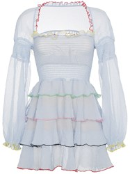 Sandy Liang Evian Mini Dress With Tiered Ruffles Polyester Blue
