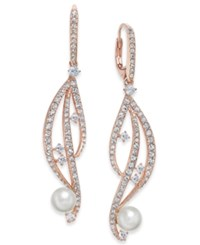 Danori Rose Gold Tone Imitation Pearl And Pave Drop Earrings Created For Macy's