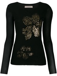 D.Exterior Floral Knitted Top Black