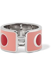 Fendi Silver Tone And Enamel Ring Pink