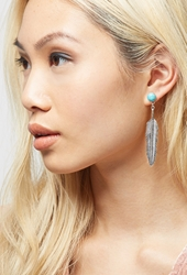 Forever 21 Peyote Bird Turquoise Feather Earrings Blue Silver