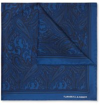 Turnbull And Asser Paisley Print Silk Twill Pocket Square Navy