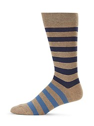 Saks Fifth Avenue Made In Italy Two Tone Striped Cotton Crew Socks Tan Blue