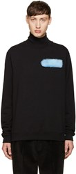 Msgm Black Fur Patch Turtleneck