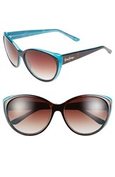 Women's Lilly Pulitzer 'Camden' 60Mm Cat Eye Sunglasses Dark Tortoise Turquoise