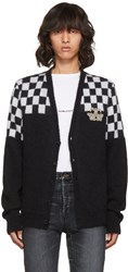 Saint Laurent Black And White Half Check Embroidered Cardigan