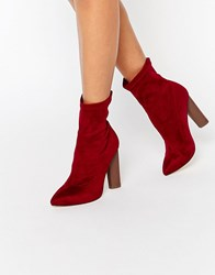 Truffle Collection Contrast Heel Boot Berry Mf Red