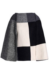Carolina Herrera Checked Wool Blend Cape Charcoal