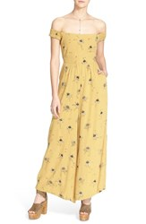 Women's Free People 'Aster' Floral Print Jumpsuit Gold