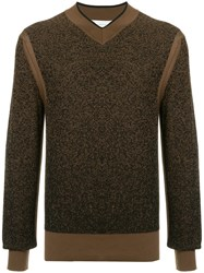 Cerruti 1881 V Neck Knit Sweater Brown