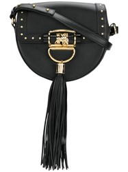 Balmain Domaine 18 Shoulder Bag Calf Leather Lamb Skin Black
