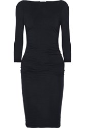 James Perse Ruched Stretch Cotton Jersey Midi Dress Midnight Blue