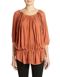 Free People New World Jersey Butterfly Tunic Top Orange