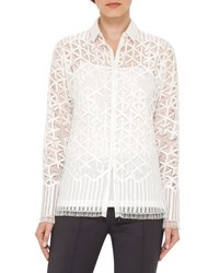 Akris Geometric Lace Button Front Blouse