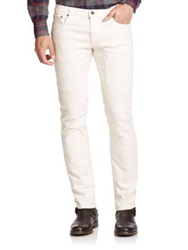 Belstaff Slim Fit Moto Jeans Natural White