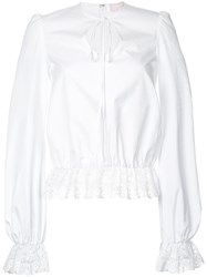 Giamba Lace Detail Blouse White