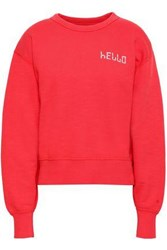 Rag And Bone Woman Embroidered French Cotton Terry Sweatshirt Red