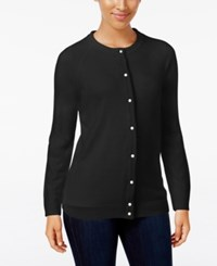 Karen Scott Crew Neck Cardigan Only At Macy's Luxsoft Black