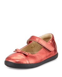 Old Soles Leather Cap Toe Ballet Flat Metallic Red Youth