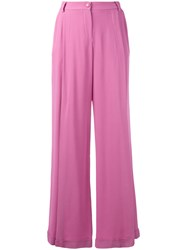 Emporio Armani Flared Trousers Women Viscose 40 Pink Purple