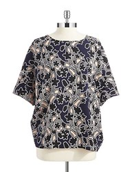 Lord And Taylor Petite Floral Dolman Sleeved Top Evening Blue
