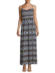 Saks Fifth Avenue Red Printed Maxi Dress Blue Black